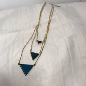 Gold Jewelmint 3 strand necklace with triangles